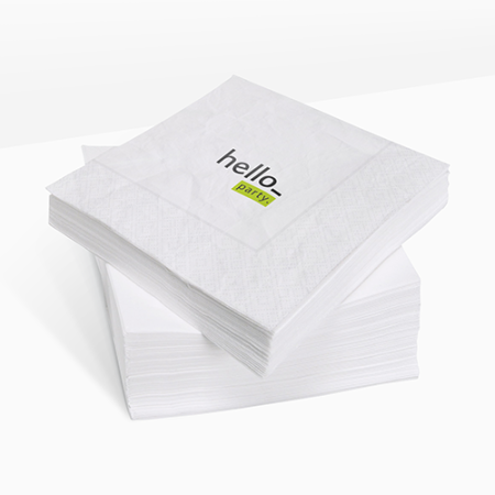 A white coloured printed napkin available with customised printing options for a cheap price at Helloprint