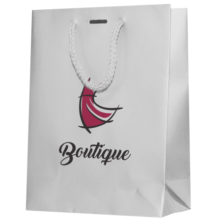 A white coloured luxury paper bag with an example printed on the front, available with cheap printing solutions at Helloprint
