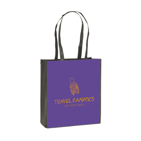 Cheap and sturdy tote bag with large straps. The bag can be personalised with logos and designs at Helloprint