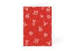 Red Christmas card with bell, present and decoration icons available at drukfabriek.nl