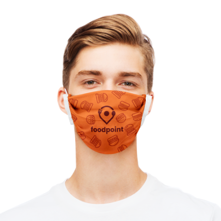 Man with orange polyester face mask