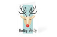 Holly Jolly reindeer Christmas card design available at ocmprintstore.co.uk