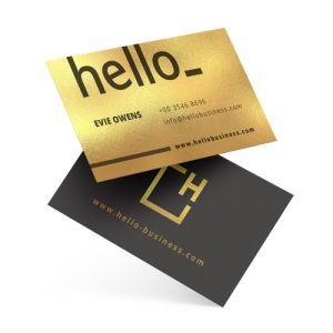 Business cards with Metallic White material, available at Helloprint