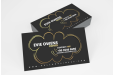 Business cards with a gold foil metallic paper finish, available at Helloprint