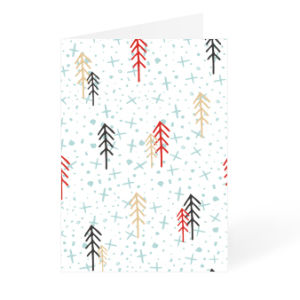 White Christmas card with snow and trees design available at Helloprint