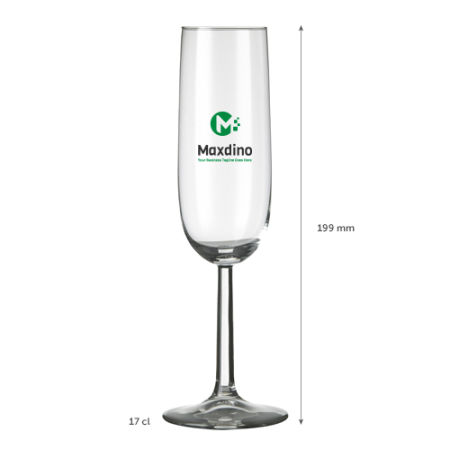 A 17 cl Champagne glass available at Helloprint with a personalised logo or design printed on the side.