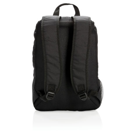 Personalised Business Backpack in black with comfortable shoulder straps, available at Helloprint.