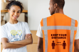 T-shirt and safety vests with anti-corona design, printed with Helloprint