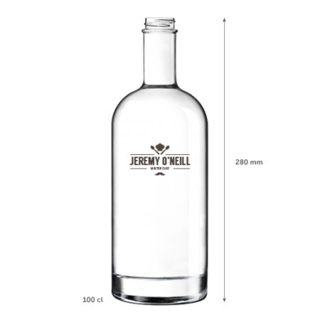 A 1 litre classic glass bottle available with personalised printing options for a cheap price at Drukzo