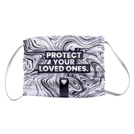 A Black and white design with text Protect your loved ones printed on a microfibre face mask available at Helloprint