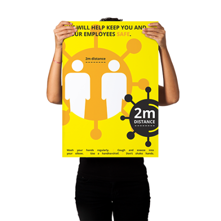 A distinctive yellow anti corona poster, that can be used in and outside, to draw attention and inform customers about the regulations created to combat COVID 19