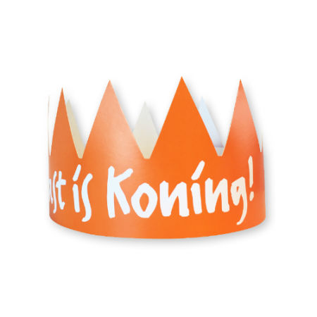 A orange printed party crown available with custom printing options for a cheap price at Helloprint