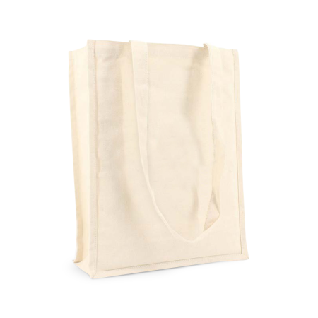 A beige coloured premium Canvas bag available with customisable printing solutions for cheap prices at Helloprint