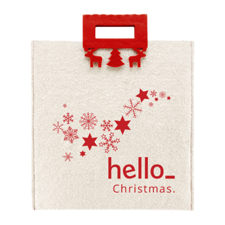 Cheap and sturdy Christmas bag made of felt. At Helloprint you can personalise it with your own logo or design.
