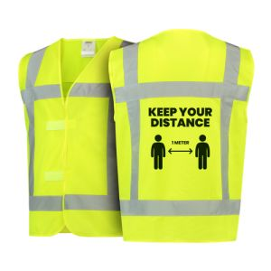 Keep your distance with our high visibility jacket (orange) - back view