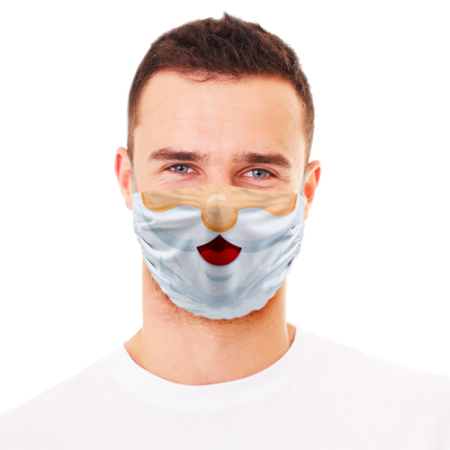 Face masks printed with Santa's face - Wear a thick beard on your protective mask with Helloprint