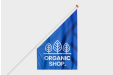 Printed Shop flags with your shop logo for a custom communication - available at Helloprint