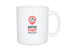 A white coloured XXL sized mug with an example image printed on, available printed at Helloprint with a personalised logo