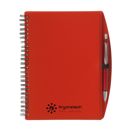 A Kryonetech notebook available to be printed with a custom logo or image at Helloprint.
