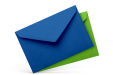 blue and green envelopes