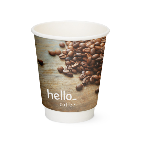 A cheap paper cup with a custom image printed all round the cup, available at Helloprint