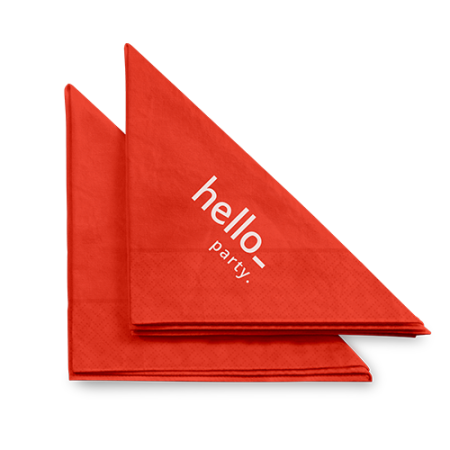 Folded red coloured printed napkins available with custom printing options for a cheap price at Helloprint